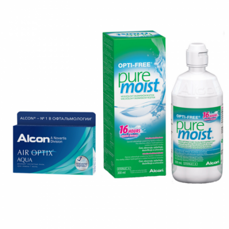 Air Optix  Aqua 6 pk +  Pure Moist 300 ml.