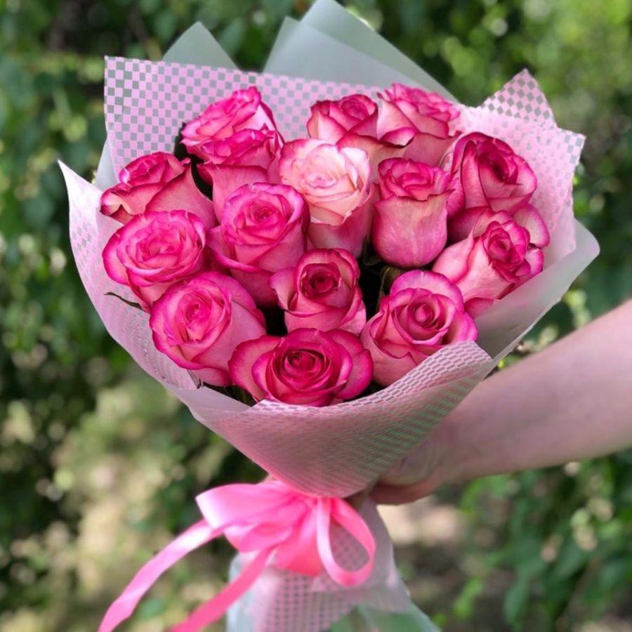 Букет из розовых роз (60 см)