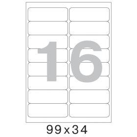 73571 Этикетки самоклеящиеся Mega label белые 99х34 мм (16 штук на листе А4, 100 листов в упаковке)