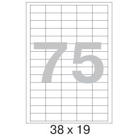 73648 Этикетки самоклеящиеся Promega label белые 38х19 мм (75 штук на листе А4, 100 листов в упаковке)