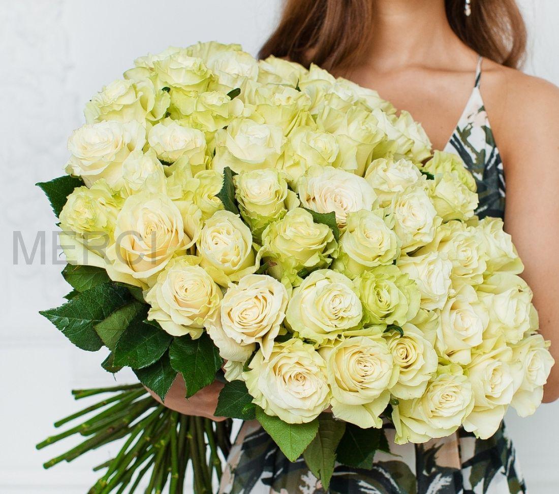 Букет из роз 101 шт, Эквадор (белые)