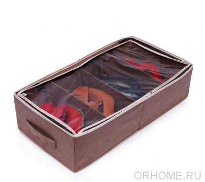 Органайзер для хранения обуви с жесткими бортами, с прозрачной крышкой