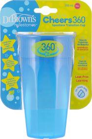 Dr.Brown's Чашка-непроливайка 300 мл Cheers 360°, синяя (Арт. ТС01040)