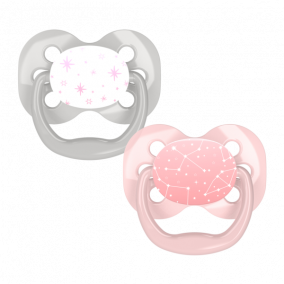 Dr.Brown's Пустышки Advantage™, 0-6 месяцев, с колпачком, Розовые Звёзды, 2 шт (арт. PA12001)