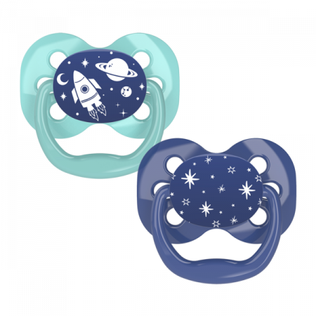 Dr.Brown's Пустышки Advantage™, 0-6 месяцев, с колпачком, Голубой Космос, 2 шт (арт. PA12002)