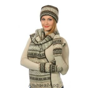 Комплект шапка, шарф, варежки вязаный из Исландской шерсти 08161-52
