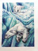 """Схема для вышивания крестиком """"Белые медведи"""". Отшив."""