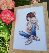 "Digital cross stitch pattern ""Feathered hugs""."