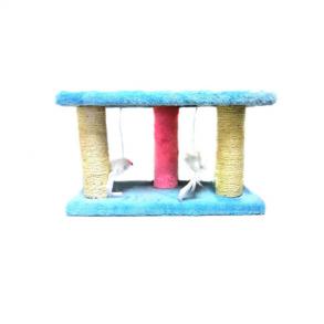 Двухъярусная когтеточка-стойка Три столбика с мышками