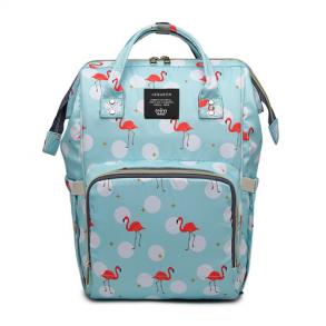 Сумка-рюкзак для мамы Mummy Bag Фламинго (голубая)