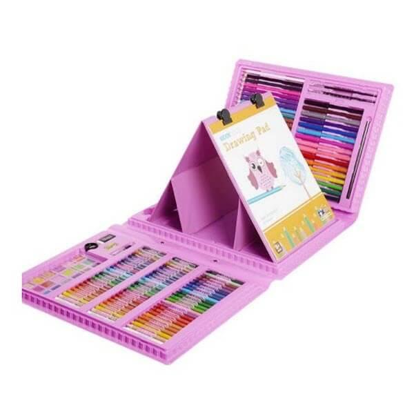 Набор для рисования со складным мольбертом в чемоданчике (176 предметов). Цвет: Розовый