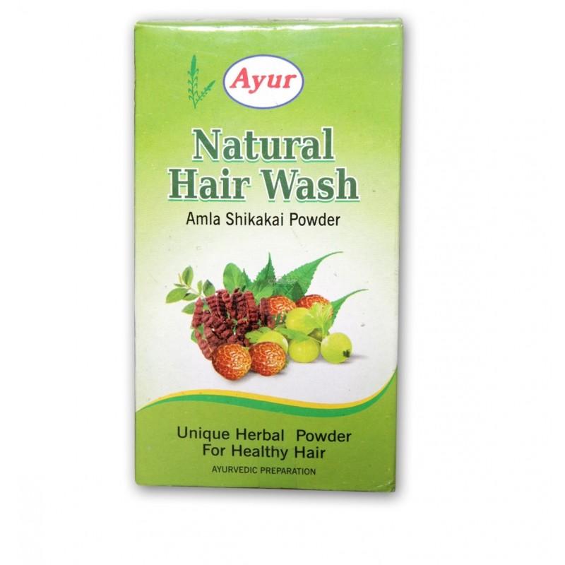 Натуральный сухой шампунь Амла и Шикакай (Natural Hair Wash Amla Shikakai Powder AYUR), 100 г