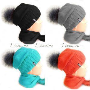 Комплект ШАПКА на флисе с пумпоном + шарф LUXE