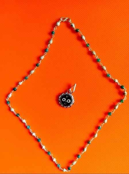 Кантхимала Туласи в серебре с Ониксом, 48 см, 7 г, диаметр - 4 мм, производитель Ганготри(Вриндаван,Индия)