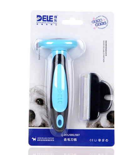 Фурминатор с прорезиненной ручкой и сменным ножом Dele, цвет голубой