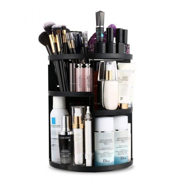 Многофункциональный вращающийся органайзер для косметики 360 Rotation Cosmetic Organizer, Чёрный