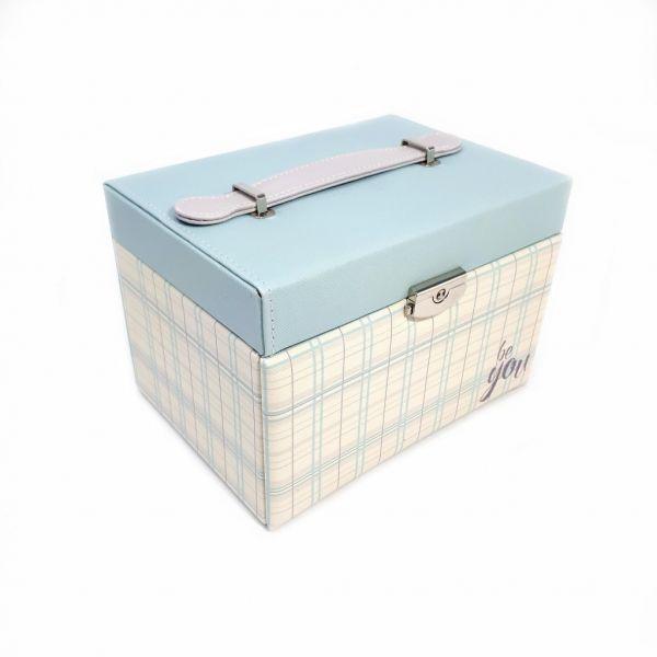 Шкатулка для ювелирных изделий Сундучок Be You, 20х15х14 см, цвет голубой