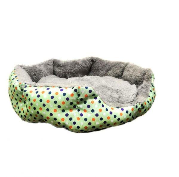 Круглый меховой лежак для кошек и собак Горошек 35 см, Зелёный