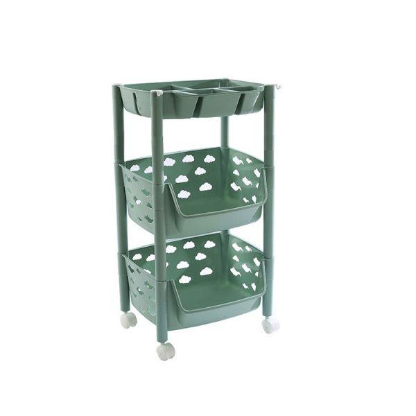 Пластиковая этажерка на колёсиках для хранения овощей, 2 корзины