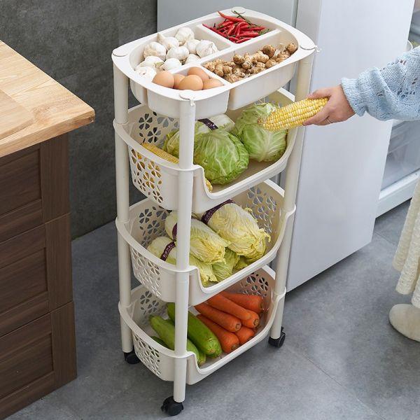 Пластиковая этажерка на колёсиках для хранения овощей, 4 корзины