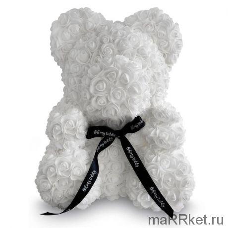Мишка из роз 40 см (белый)