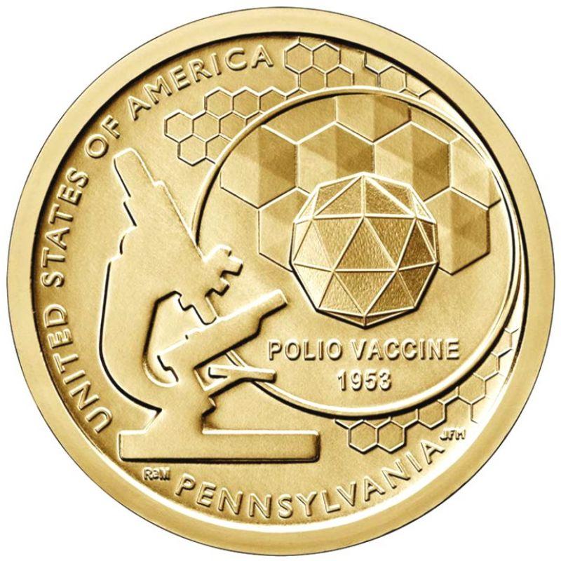 "1 доллар 2019г. Американские инновации ""Вакцина от полиомиелита (Polio Vaccine 1953)"" №3"