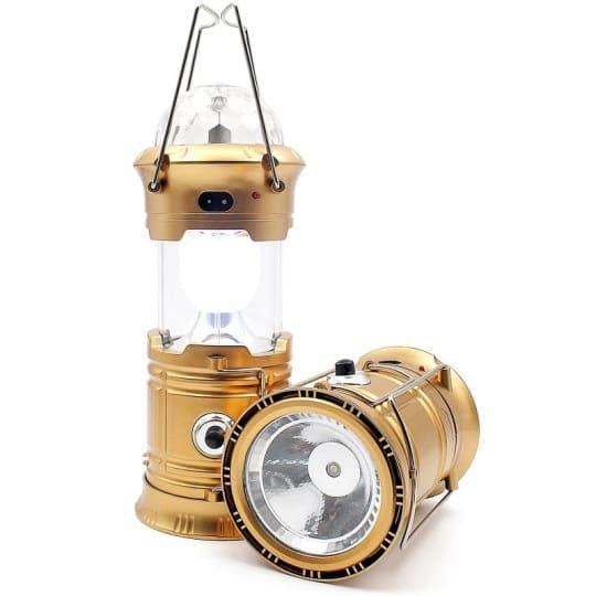 Кемпинговый складной фонарь с диско-шаром 4 в 1 (без солнечной панели), 17 см, золотой