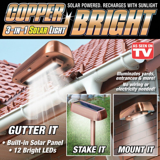 Уличный светильник с солнечной панелью 3 в 1 Copper Bright