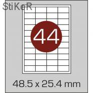 641798  Этикетки самоклеящиеся Mega label белые 48.5х25.4 мм (44 штук на листе А4, 100 листов в упаковке)