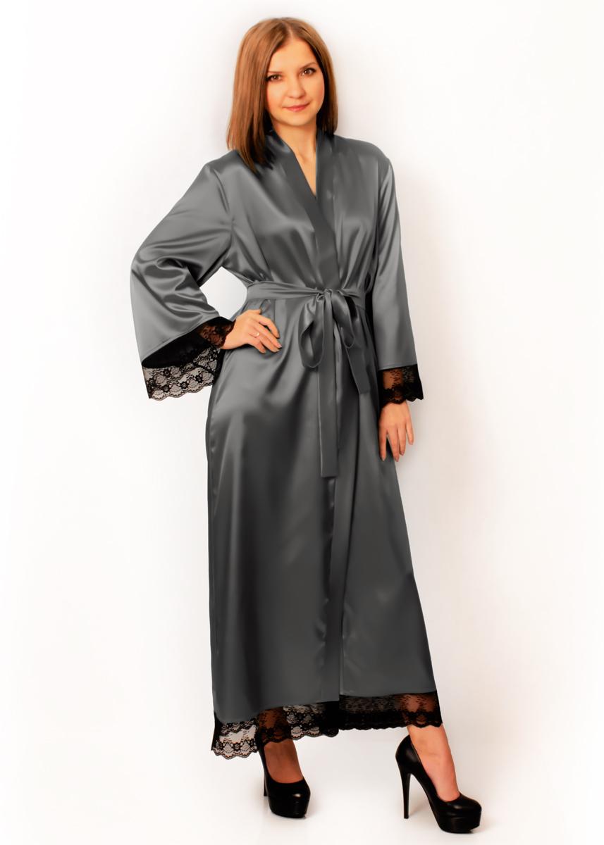 Длинный атласный халат Скарлетт  (серый)