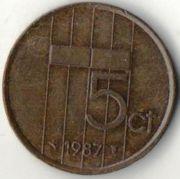 5 центов. 1987 год. Нидерланды.