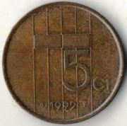 5 центов. 1992 год. Нидерланды.