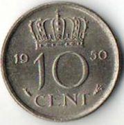 10 центов. 1950 год. Нидерланды.