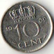 10 центов. 1969 год. Нидерланды.