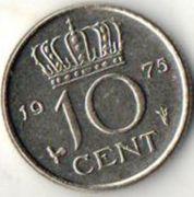 10 центов. 1975 год. Нидерланды.