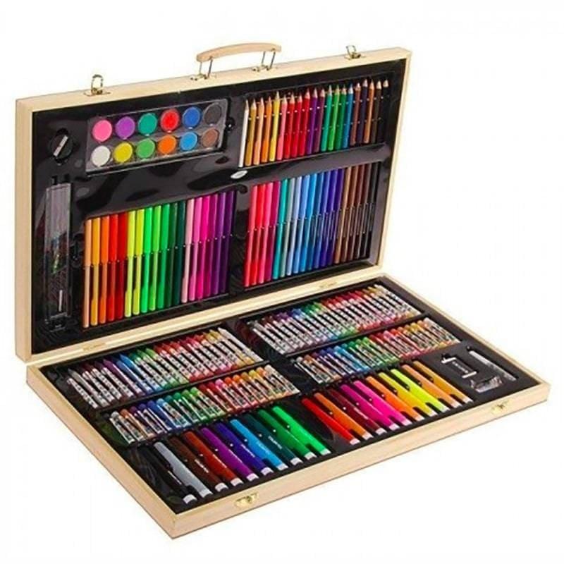Набор художника в чемоданчике из дерева, 180 предметов