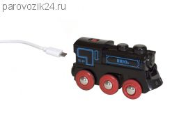 Подзаряжаемый паровоз с мини USB-кабелем (свет, звук)