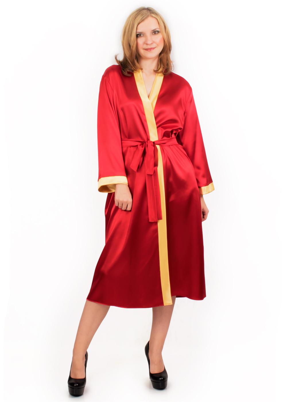 Атласный халат Киото (красный)
