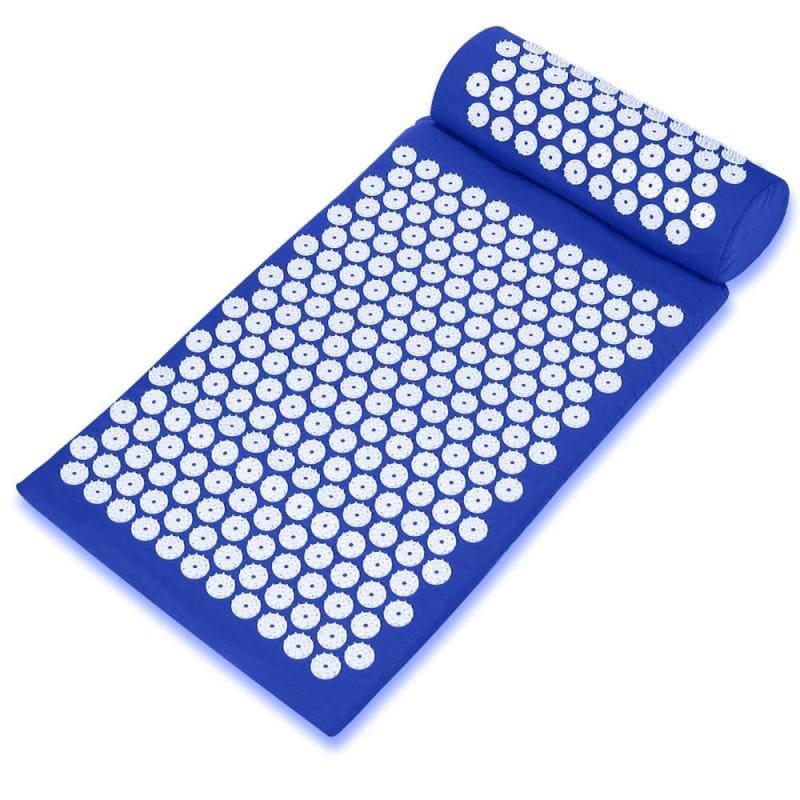 Массажный акупунктурный комплект из коврика и валика Acupressure Mat, синий