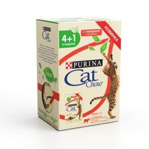 """НАБОР Purina Cat Chow паучи для кошек """"Кусочки в желе с говядиной и баклажанами"""" 4+1 (5* 85гр) 425 гр"""