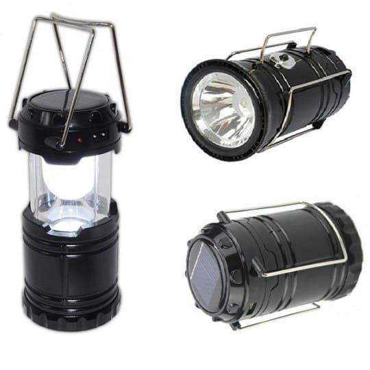 Складной кемпинговый фонарь 3 в 1, 12 см, черный