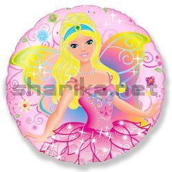 Воздушный шар (18''/46 см) Круг, Фея, Розовый, 1 шт.