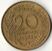 20 сентим. Франция. 1963 год.