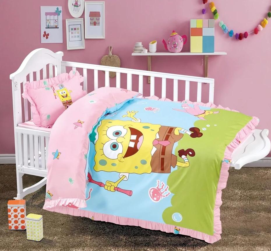 Детское постельное белье СпанчБоб (розовое)