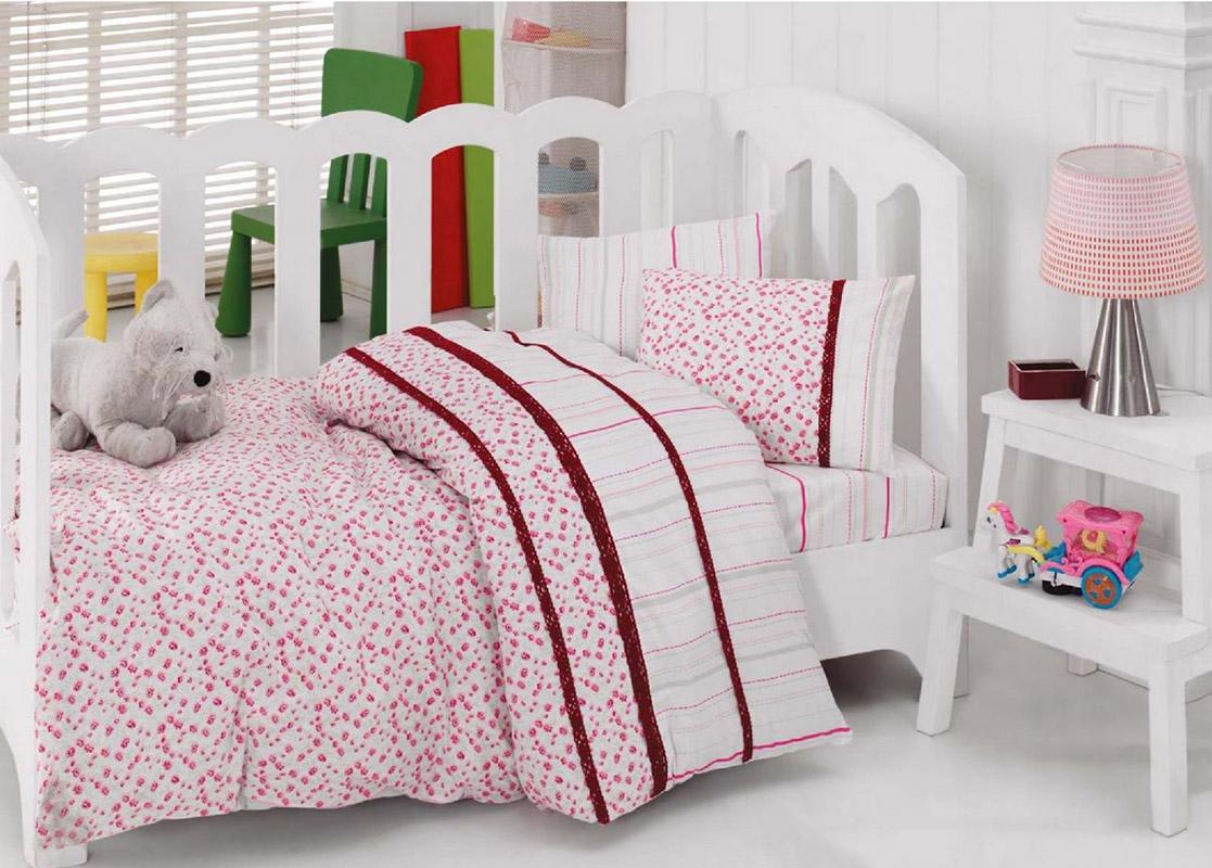 Детское постельное белье с бордовым кружевом