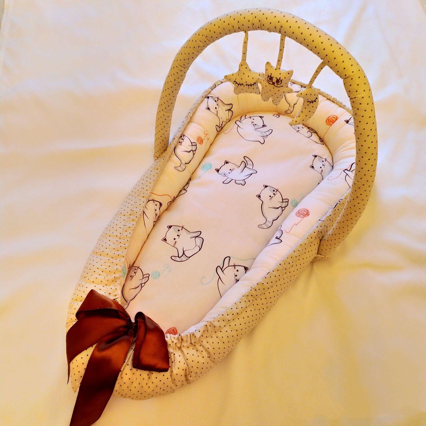 Кокон-гнездышко Котики с горошком
