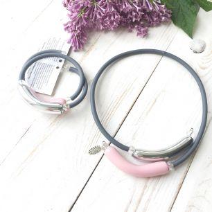 Комплект Обруч на каучуке пастель розовый