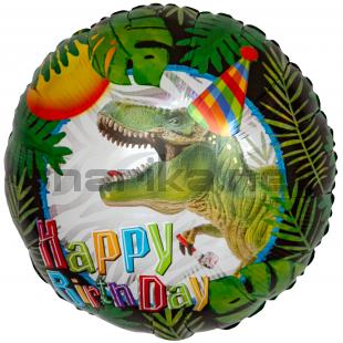Шар (18''/46 см) Круг, С Днем Рождения! (динозавр), 1 шт.