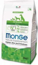 Monge Dog PFB Speciality корм д/взрослых собак всех пород кролик с рисом и картофелем
