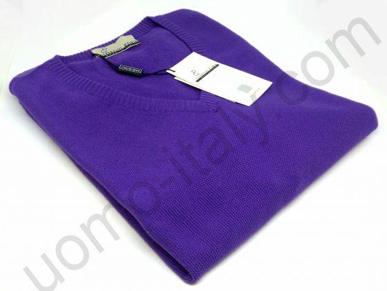 """Джемпер Giorgio Porta цвета """"ирис"""" с V-образным вырезом (последний размер 50)"""